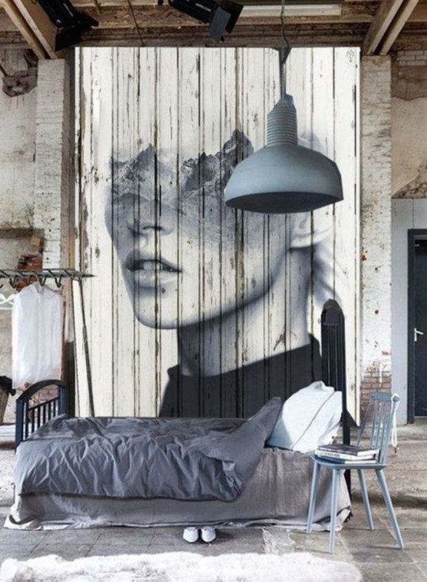 Спальня в стиле модерн с портретом
