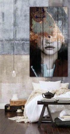 Дизайн спальни с портретом