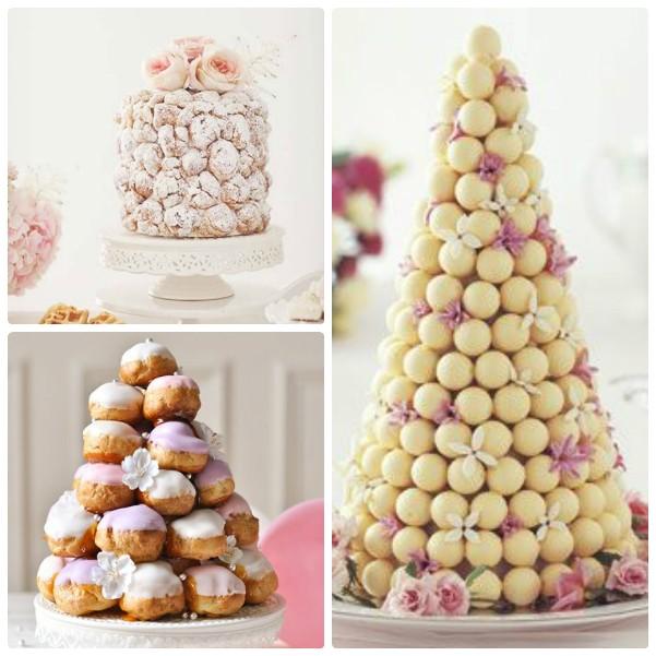 Свадебные белые торты из профитролей