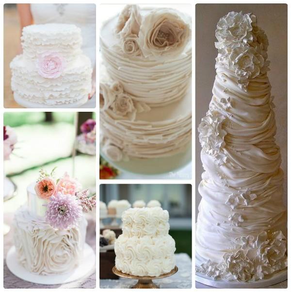 Белые свадебные торты с оборками/рюшами