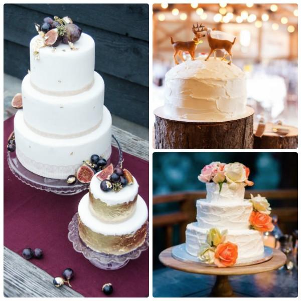 Рустикальные белые торты