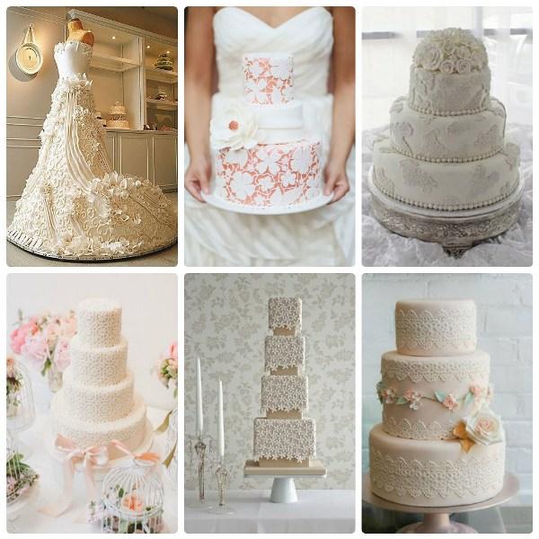 Свадебные торты с кружевом из мастики
