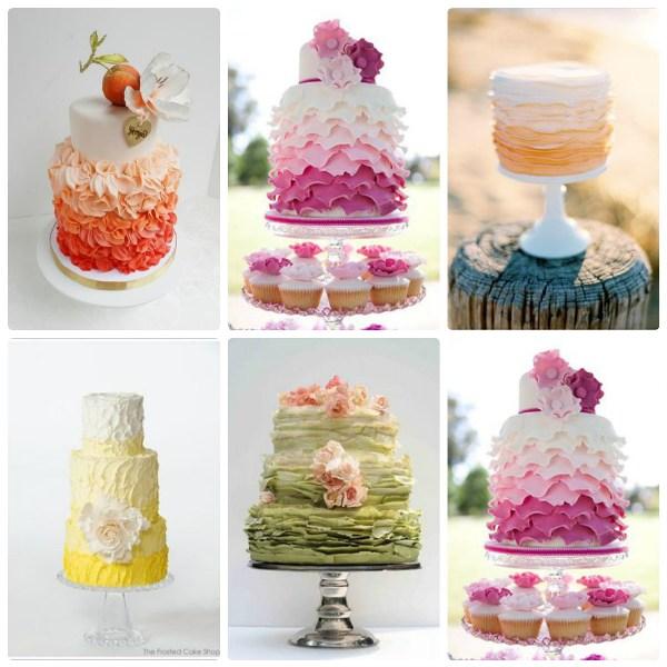 Свадебные торты с градиентной расцветкой