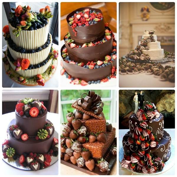 Шесть примеров свадебных шоколадных тортов с ягодами