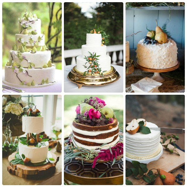 Свадебные торты, декорированные грушами