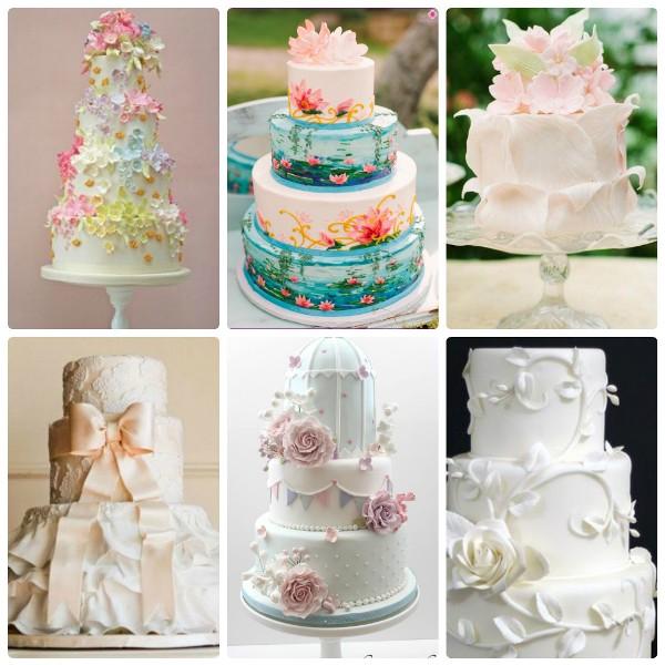 Свадебные торты, украшенные цветами из мастики