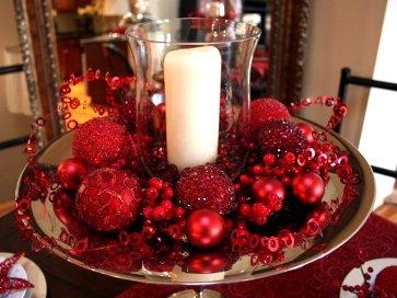Новогодний декор с помощью елочных красных игрушек, сложенных на блюде