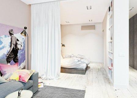 Шторы, разделяющие комнату на зоны отдыха и сна