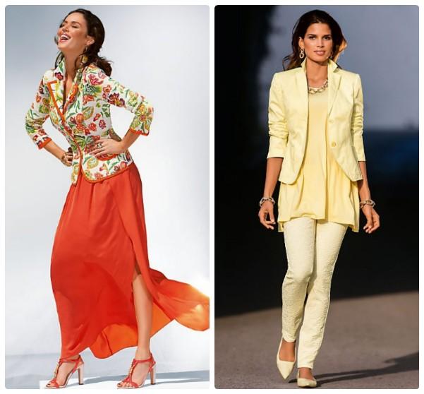 Блейзер с цветочным принтом и длинной красной юбкой, желтый блейзер брюками