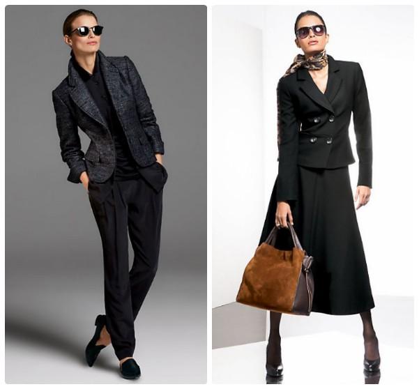 Блейзер из темного твида с черными брюками и короткий черный блейзер с юбкой-клеш