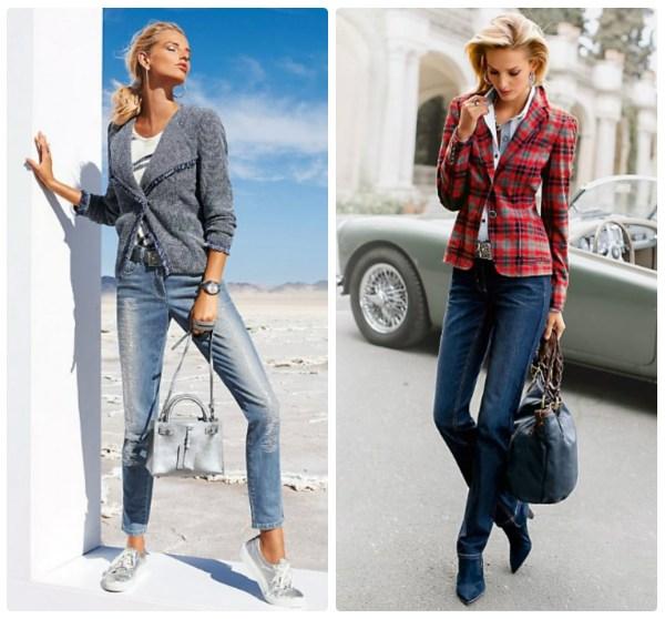 Короткий серый блейзер и блейзер в клетку с джинсами