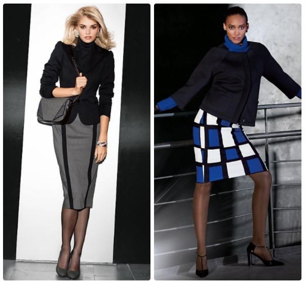 Два женственных коротких блейзера с узкими юбками