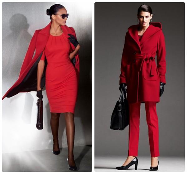 Два красных элегантных пальто выше колен