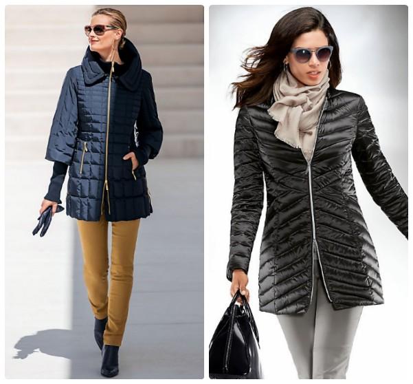 Длинные женские легкие куртки на осень - синяя с золотистой молнией, и черная без воротника