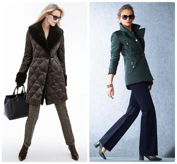 Длинные куртки на осень, стеганые, коричневое пальто и зелено полупальто