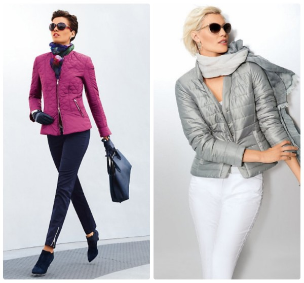 Легкие стеганые куртки женские. Одна алого, вторая серого цвета