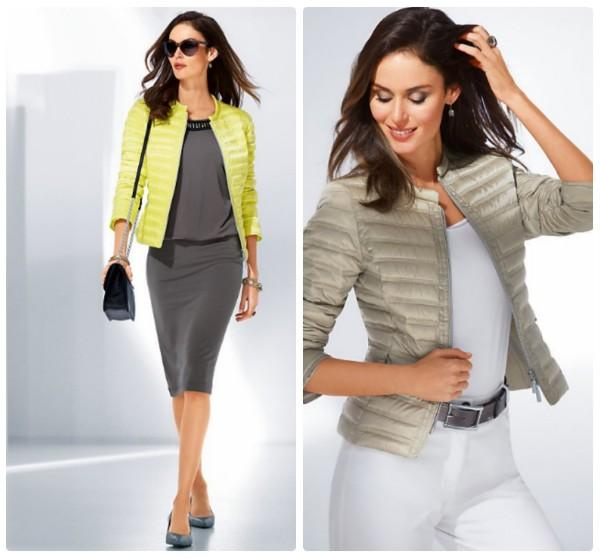 Женские куртки на осень, стеганые без воротника, салатного и серого цвета