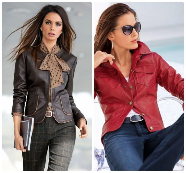 Женские кожаные куртки легкие в виде жакетов, коричневая и красная