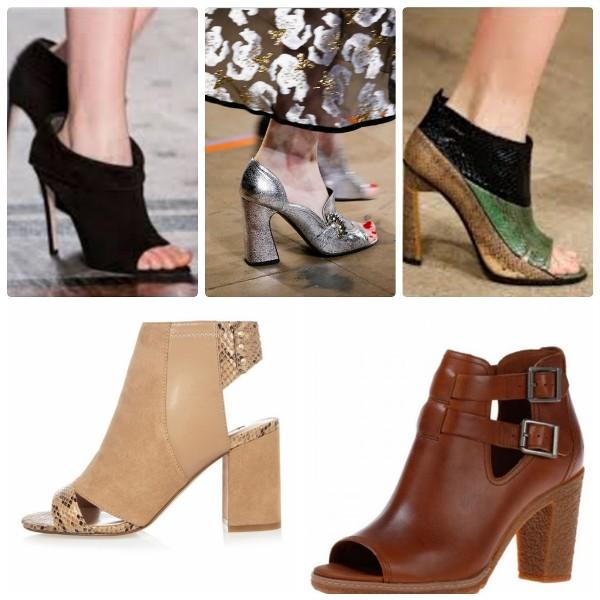 Модная обувь 2016-2017 с открытым носком - ботильоны и туфли