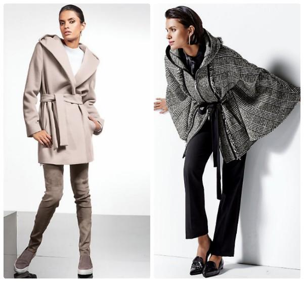 Розовое пальто в большим капюшоном, выше колен. Накидка с капюшоном, в клетку