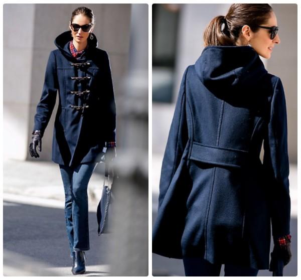 Синее пальто с капюшоном