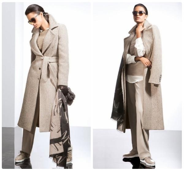 Длинное пальто из твида бежевого цвета