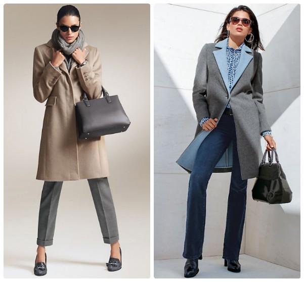 Бежевое и серое пальто с голубым воротником, до колена, средней длины