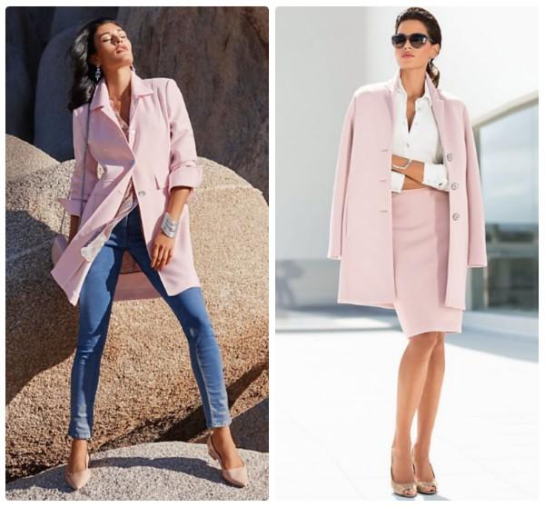 Легкие жакеты-пальто розового цвета