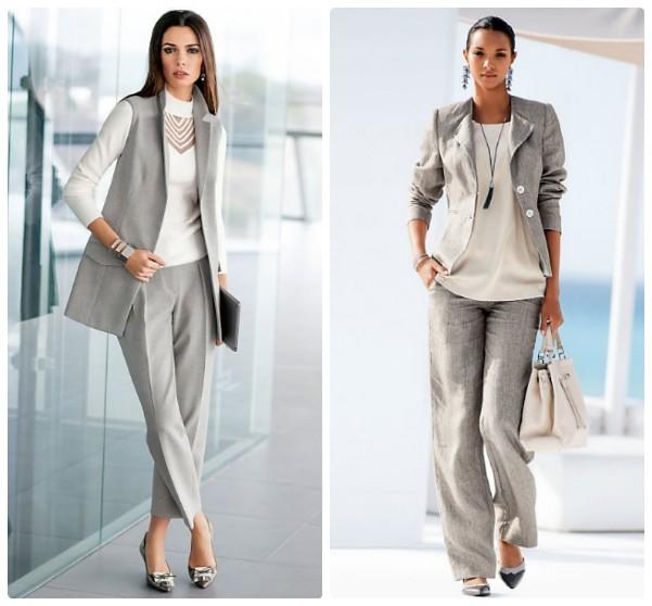 Серый брючный костюм для женщины
