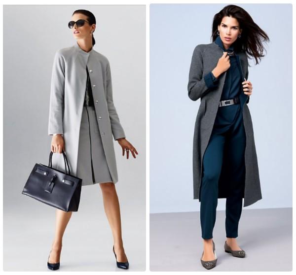 Светло-серое и темно-серое осенние пальто без воротника