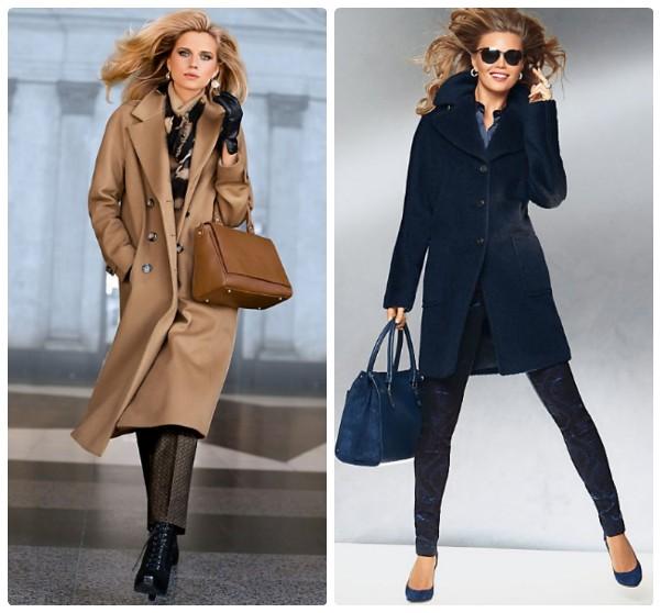 Бежевое пальто ниже колена и синее пальто выше колен