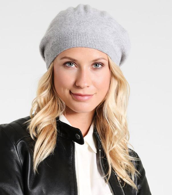 Серая кашемировая шапка Benetton женская
