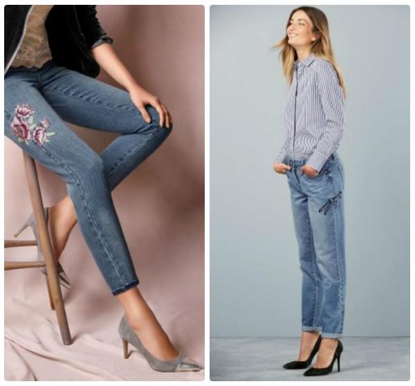 Голубые джинсы с вышивкой - цветы и стрекоза