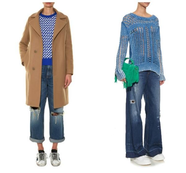 Широкие рваные джинсы