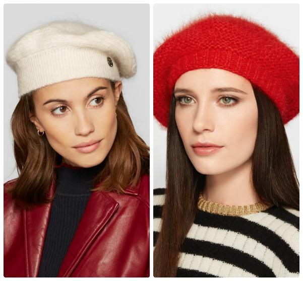 Модные женские вязаные береты - белый и красный