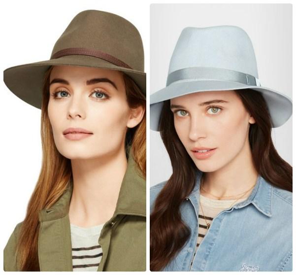 Две шляпы с полями - цвета хаки и светло-голубая