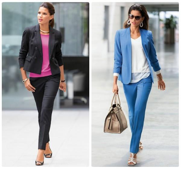 Два женских брючных костюма - темный и голубой