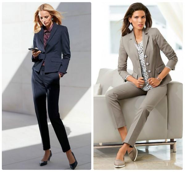 Два женских брючных костюма - темно-серый и светло-серый