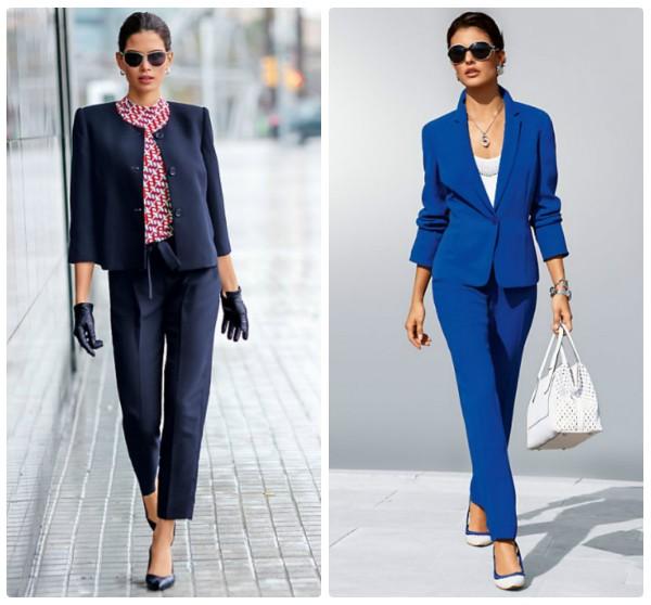 Черный и синий женские брючные костюмы
