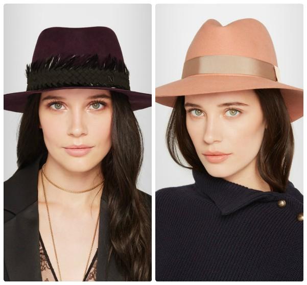 Шляпы федоры - бордовая и персикового цвета
