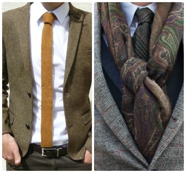 трикотажный светло-коричневый галстук