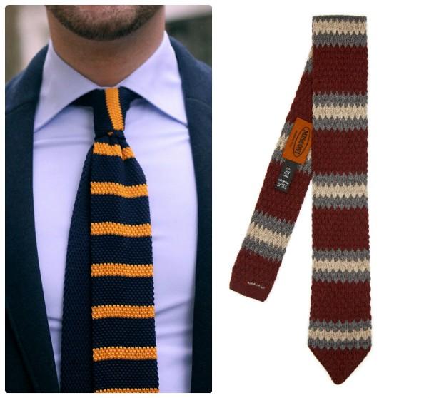 Два трикотажных галстука в поперечную полоску