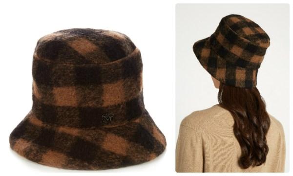 Модная теплая шляпка в клетку