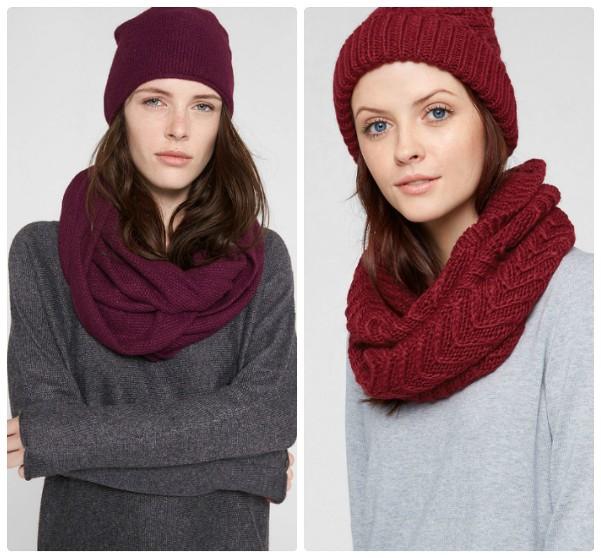 Женская шапка и шарф фиолетового цвета, шапка и шарф бордо