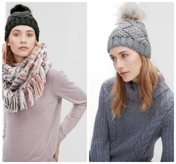Две вязаные женские шапки с меховым помпоном - черная и серая