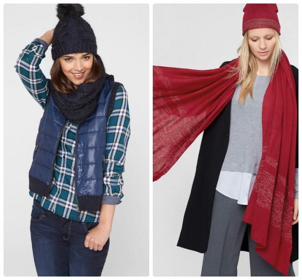 Две вязаные женские шапки с помпоном - синяя и красная