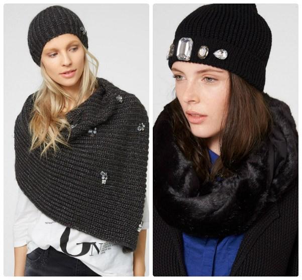 Две черные женские вязаные шапки и два шарфа