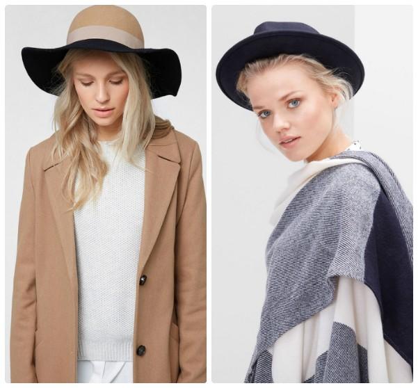 Две модные шляпки с полями - двухцветная и синяя