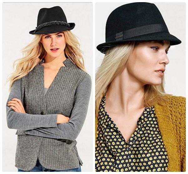 Черная шляпка с узкими полями