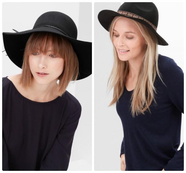 Две черные шляпы с широкими полями на девушках-моделях